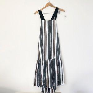 ASOS striped cotton dress thick straps high low 2